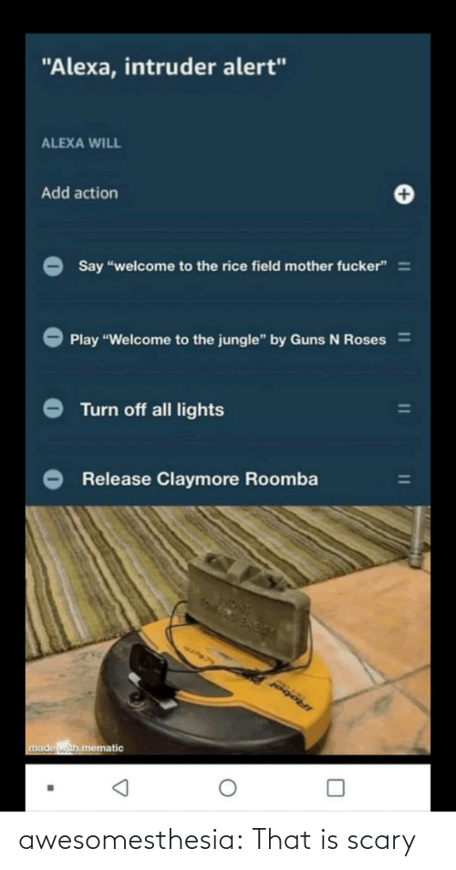 "roses: ""Alexa, intruder alert""  ALEXA WILL  Add action  Say ""welcome to the rice field mother fucker"" =  Play ""Welcome to the jungle"" by Guns N Roses%3D  Turn off all lights  Release Claymore Roomba  IRobol  made with mematic awesomesthesia:  That is scary"