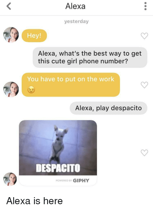 Giphy: Alexa  yesterday  Hey!  Alexa, what's the best way to get  this cute girl phone number?  You have to put on the work  Alexa, play despacito  DESPACITO  POWERED BY GIPHY Alexa is here