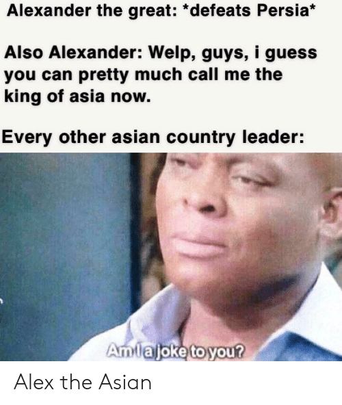 Asian, Guess, and Dank Memes: Alexander the great: *defeats Persia*  Also Alexander: Welp, guys, i guess  you can pretty much call me the  king of asia now  Every other asian country leader:  Amtaljoketoyour Alex the Asian
