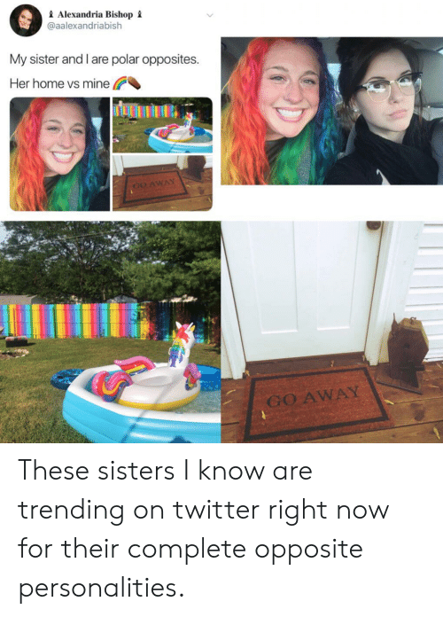 Twitter, Home, and Her: Alexandria Bishop i  @aalexandriabish  My sister and l are polar opposites  Her home vs mine  GO AWAY  GO AWAY These sisters I know are trending on twitter right now for their complete opposite personalities.