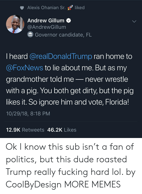 Dank, Dude, and Fucking: Alexis Ohanian Sr. liked  Andrew Gillum<  @AndrewGillum  Governor candidate, FL  I heard @realDonaldTrump ran home to  @FoxNews to lie about me. But as my  grandmother told me-never wrestle  with a pig. You both get dirty, but the pig  likes it. So ignore him and vote, Florida!  10/29/18, 8:18 PM  12.9K Retweets 46.2K Likes Ok I know this sub isn't a fan of politics, but this dude roasted Trump really fucking hard lol. by CoolByDesign MORE MEMES