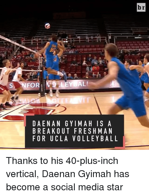breakout: ALI  S NFOR  D AENA NGY IMAH IS A  BREAKOUT FRESHMAN  FOR UCLA VOLLEYBALL  br Thanks to his 40-plus-inch vertical, Daenan Gyimah has become a social media star