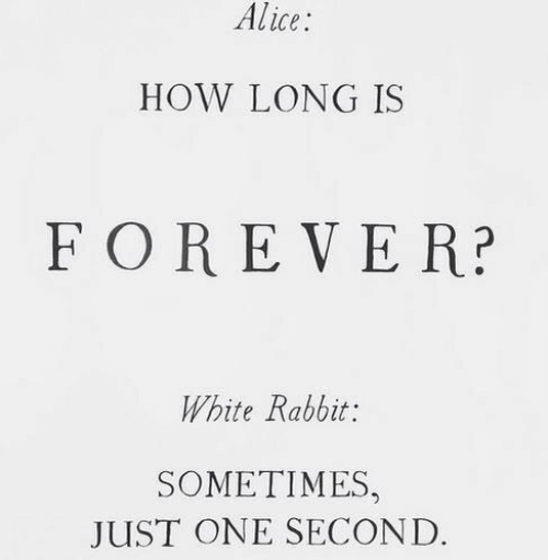 alice: Alice  HOW LONG IS  FOREVER?  White Rabbit:  SOMETIMES,  JUST ONE SECOND.