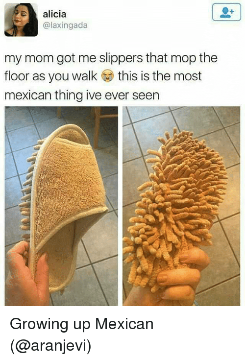 Growing Up, Memes, and Mexican: alicia  @laxingada  my mom got me slippers that mop the  floor as you walk this is the most  mexican thing ive ever seen Growing up Mexican (@aranjevi)
