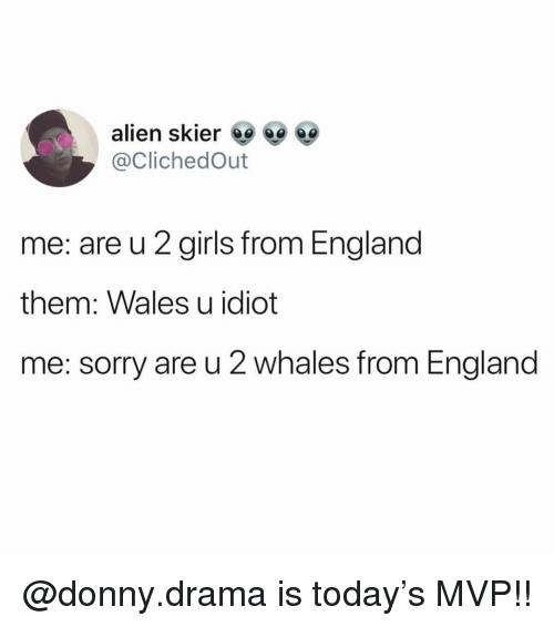 England, Girls, and Memes: alien skier  @ClichedOut  me: are u 2 girls from England  them: Wales u idiot  me: sorry are u 2 whales from England @donny.drama is today's MVP!!