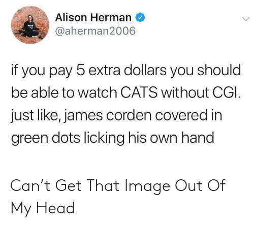 You Should: Alison Herman  MED  @aherman2006  if you pay 5 extra dollars you should  be able to watch CATS without CGI.  just like, james corden covered in  green dots licking his own hand Can't Get That Image Out Of My Head
