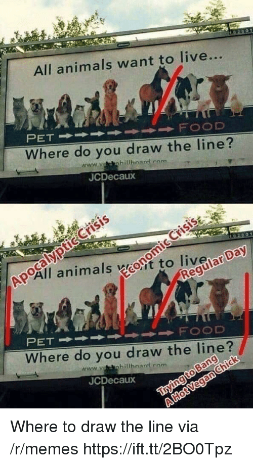 Animals, Memes, and Live: All animals want to live...  Where do you draw the line  JCDecaux  Crisis  All animals woit to liveiar Da  Where do you draw the line?  www.ohillbnard rom  JCDecaux Where to draw the line via /r/memes https://ift.tt/2BO0Tpz