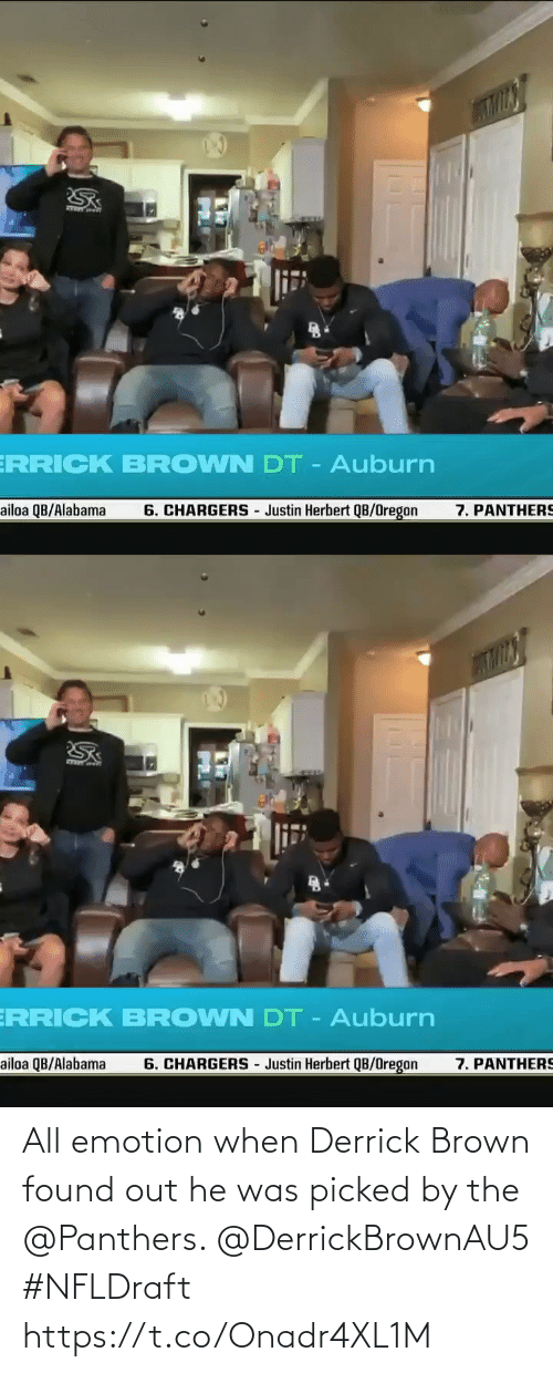 Panthers: All emotion when Derrick Brown found out he was picked by the @Panthers. @DerrickBrownAU5 #NFLDraft https://t.co/Onadr4XL1M