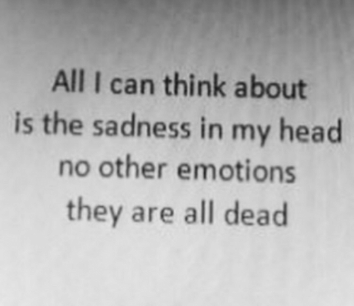 Head, Can, and Think: All I can think about  is the sadness in my head  no other emotions  they are all dead