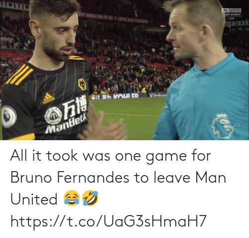 Game: All it took was one game for Bruno Fernandes to leave Man United 😂🤣 https://t.co/UaG3sHmaH7