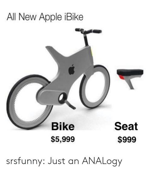 Apple, Tumblr, and Blog: All New Apple iBike  Bike  Seat  $5,999  $999 srsfunny:  Just an ANALogy