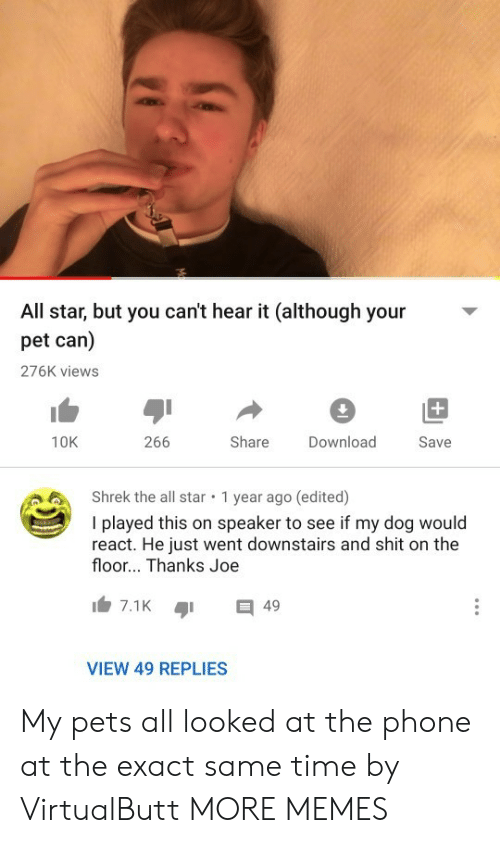 speaker: All star, but you can't hear it (although your  pet can)  276K views  +  266  Share  10K  Download  Save  Shrek the all star  1 year ago (edited)  I played this on speaker to see if my dog would  react. He just went downstairs and shit on the  floor... Thanks Joe  7.1K  49  VIEW 49 REPLIES My pets all looked at the phone at the exact same time by VirtualButt MORE MEMES