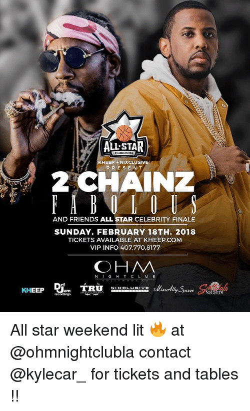 ohm: ALL STAR  KHEEP +NIXCLUSIVE  PRESENT  AND FRIENDS ALL STAR CELEBRITY FINALE  SUNDAY, FEBRUARY 18TH, 2018  TICKETS AVAILABLE AT KHEEP.COM  VIP INFO 407.770.8177  OHM  N IG H T C L UB  oon NIGHTS All star weekend lit 🔥 at @ohmnightclubla contact @kylecar_ for tickets and tables !!