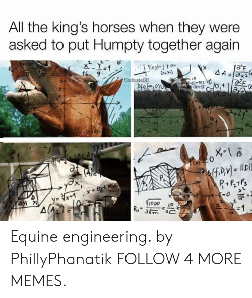Cel: All the king's horses when they were  asked to put Humpty together again  aF  AAOx2  16 9  BadtasteBB  Dre(0)0  20-3  cel  nP+Ps  y-0  y xtt  (0  VIooo  Ro 3  Ау  10 Equine engineering. by PhillyPhanatik FOLLOW 4 MORE MEMES.