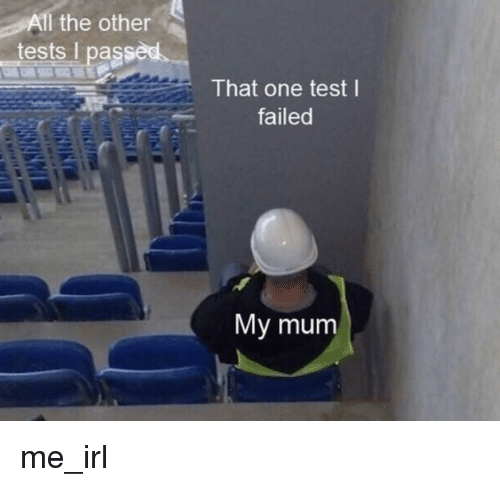 I Passed: All the otherS  tests I passed  That one test l  failed  My mum me_irl