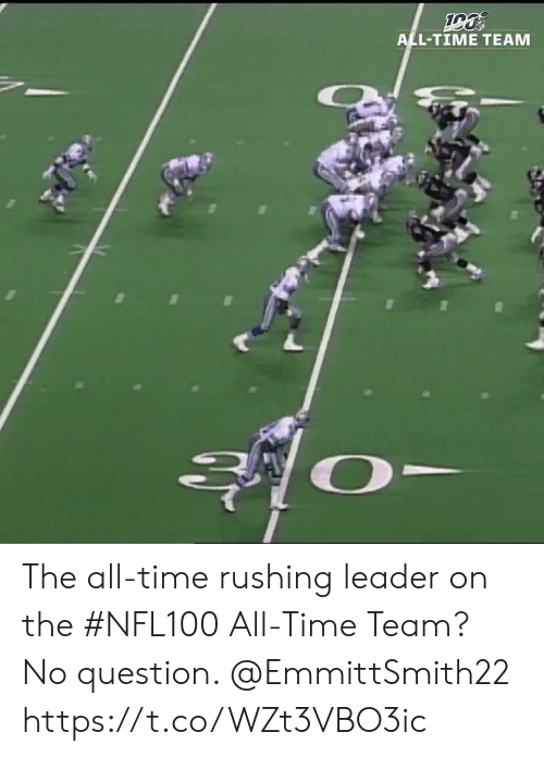 rushing: ALL-TIME TEAM The all-time rushing leader on the #NFL100 All-Time Team?  No question. @EmmittSmith22 https://t.co/WZt3VBO3ic
