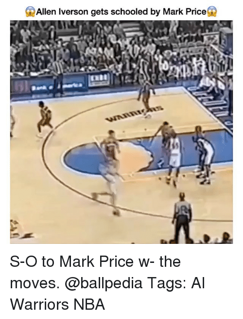 Allen Iverson: Allen Iverson gets schooled by Mark Price S-O to Mark Price w- the moves. @ballpedia Tags: AI Warriors NBA
