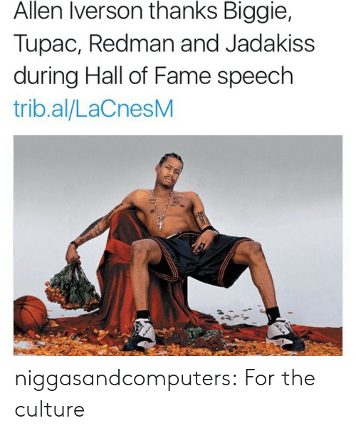 Allen Iverson: Allen Iverson thanks Biggie,  Tupac, Redman and Jadakiss  during Hall of Fame speech  trib.al/LaCnesM niggasandcomputers:  For the culture
