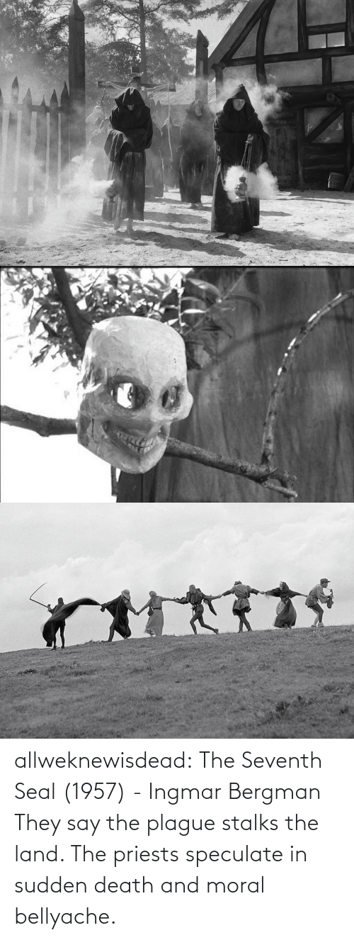 Land: allweknewisdead:   The Seventh Seal (1957) - Ingmar Bergman   They say the plague stalks the land. The priests speculate in sudden death and moral bellyache.