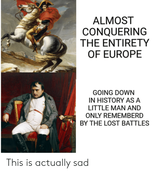 Entirety: ALMOST  CONQUERING  THE ENTIRETY  OF EUROPE  GOING DOWN  IN HISTORY ASA  LITTLE MAN AND  ONLY REMEMBERD  BY THE LOST BATTLES This is actually sad
