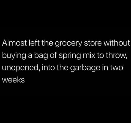 Dank, Spring, and 🤖: Almost left the grocery store without  buying a bag of spring mix to throw,  unopened, into the garbage in two  weeks