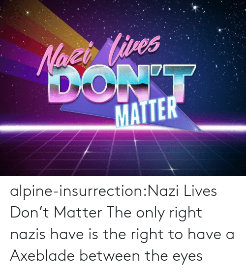 eyes: alpine-insurrection:Nazi Lives Don't Matter   The only right nazis have is the right to have a Axeblade between the eyes