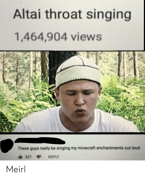 My Minecraft: Altai throat singing  1,464,904 views  These guys really be singing my minecraft enchantments out loud  i327  REPLY Meirl