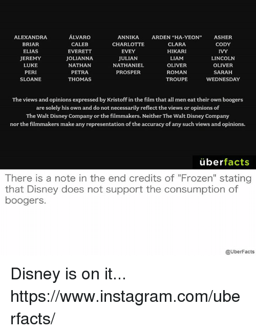 "Disney, Doe, and Facts: ALVARO  ALEXANDRA  ANNIKA.  ARDEN ""HA-YEON  ASHER  BRIAR  CALEB  CHARLOTTE  CLARA  CODY  HIKARI  EVERETT  IVY  ELIAS  EVEY  JULIAN  LIAM  JEREMY  JOLIANNA  LINCOLN  NATHANIEL  LUKE  NATHAN  OLIVER  OLIVER  PERI  ROMAN  SARAH  PETRA  PROSPER  TROUPE  SLOANE  THOMAS  WEDNESDAY  The views and opinions expressed by Kristoff in the film that all meneat their own boogers  are solely his own and do not necessarily reflect the views or opinions of  The Walt Disney Company or the filmmakers. Neither The Walt Disney Company  nor the filmmakers make any representation of the accuracy of any such views and opinions.  uber  facts  here is a note in the end credits Ot Frozen' Stating  that Disney does not support the consumption of  boogers.  @UberFacts Disney is on it... https://www.instagram.com/uberfacts/"