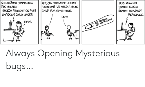 bugs: Always Opening Mysterious bugs…