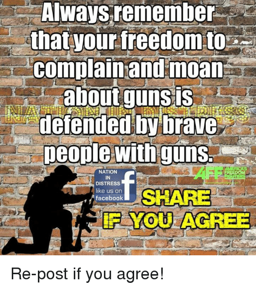 Alwaysed: Always remember  that your freedom to  complain and moan  aboutgunsis  defended by brave  people witnguns  NATION  IN  DISTRESS  like us on  facebook  SHARE Re-post if you agree!