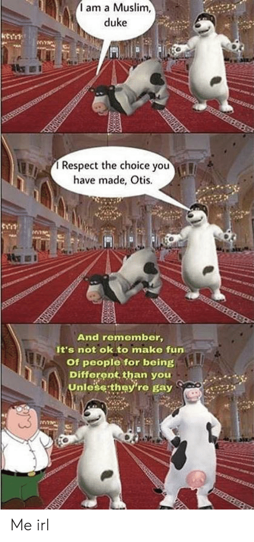Muslim, Respect, and Duke: am a Muslim,  duke  Respect the choice you  have made, Otis.  HCEOFELEAS  And remember,  It's not ok to make fun  Of people for being  Different than you  Unlese they're gay  NwNtSERS Me irl