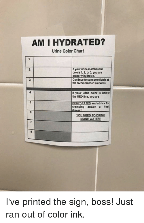 Drink More Water: AM I HYDRATED?  Urine Color Chart  f your urine matches the  colors 1, 2, or 3, you are  2  ted.  Continue to consume fluids at  the recommended amounts  If your urine color is below  the RED line, you are  DEHYDRATED and at risk for  cramping andlor a heat  YOU NEED TO DRINK  MORE WATER I've printed the sign, boss! Just ran out of color ink.