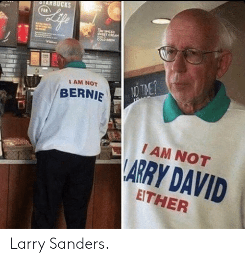Bernie, Larry Sanders, and Arry: AM NOT  BERNIE  I AM NOT  ARRY DAVID  EITHER Larry Sanders.
