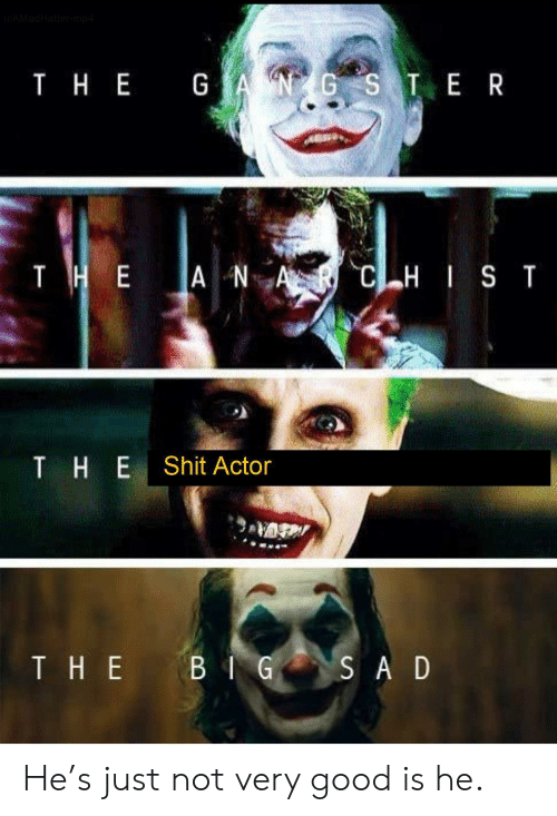 actor: AMadHattermp4  T HE GANGS TE R  тнЕ  THE A NA  CHIST  THE  Shit Actor  THE BIG  SA D He's just not very good is he.