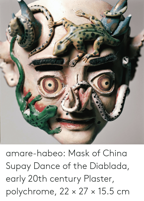 Tumblr, China, and Blog: amare-habeo:  Mask of China Supay Dance of the Diablada, early 20th century Plaster, polychrome, 22 × 27 × 15.5 cm