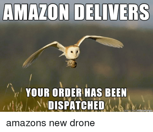 amazons: AMAZON DELIVERS  YOUR ORDER HAS BEEN  DISPATCHED amazons new drone