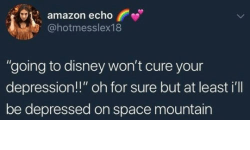 "Amazon, Disney, and Depression: amazon echo  @hotmesslex18  ""going to disney won't cure your  depression!!"" oh for sure but at least i'll  be depressed on space mountain"