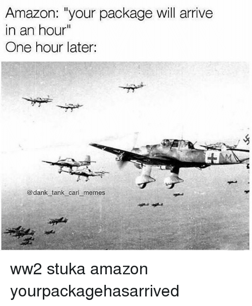 "carling: Amazon: ""your package will arrive  in an hour""  One hour later:  @dank tank carl memes ww2 stuka amazon yourpackagehasarrived"