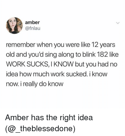 Work, Dank Memes, and Blink 182: amber  @fnlau  remember when you were like 12 years  old and youi'd sing along to blink 182 like  WORK SUCKS, I KNOW but you had no  idea how much work sucked. i know  now. i really do know Amber has the right idea (@_theblessedone)