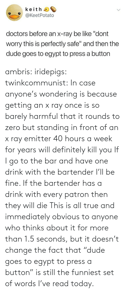 "funniest: ambris: iridepigs:  twinkcommunist: In case anyone's wondering is because getting an x ray once is so barely harmful that it rounds to zero  but standing in front of an x ray emitter 40 hours a week for years will definitely kill you  If I go to the bar and have one drink with the bartender I'll be fine. If the bartender has a drink with every patron then they will die   This is all true and immediately obvious to anyone who thinks about it for more than 1.5 seconds, but it doesn't change the fact that ""dude goes to egypt to press a button"" is still the funniest set of words I've read today."