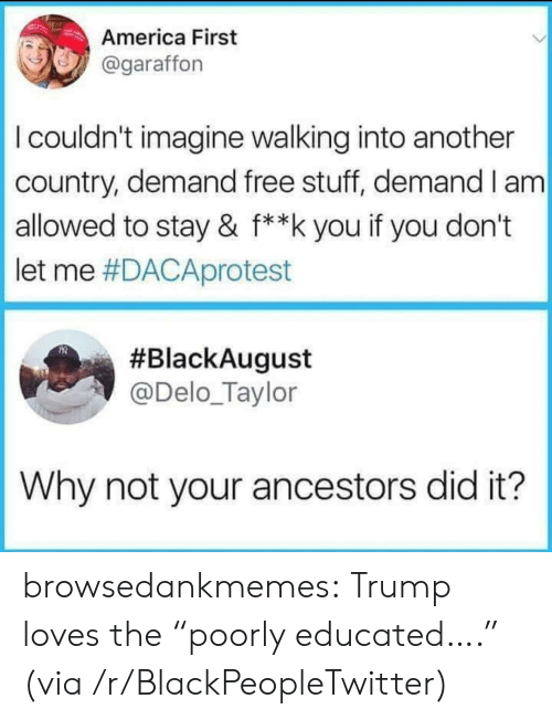 """America First: America First  @garaffon  I couldn't imagine walking into another  country, demand free stuff, demand I am  allowed to stay & f**k you if you don't  let me #DACAprotest  #BlackAugust  @Delo_Taylor  Why not your ancestors did it? browsedankmemes:  Trump loves the """"poorly educated…."""" (via /r/BlackPeopleTwitter)"""
