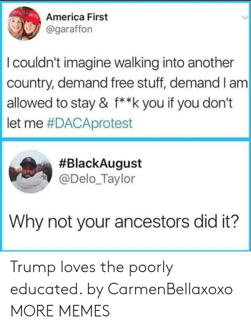 America First: America First  @garaffon  I couldn't imagine walking into another  country, demand free stuff, demand I am  allowed to stay & f**k you if you don't  let me #DACAprotest  #BlackAugust  @Delo_Taylor  Why not your ancestors did it? Trump loves the poorly educated. by CarmenBellaxoxo MORE MEMES