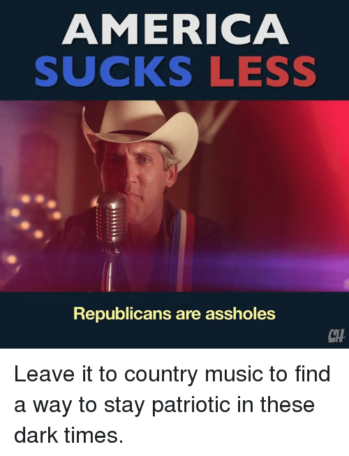 Suckes: AMERICA  SUCKS LESS  Republicans are assholes Leave it to country music to find a way to stay patriotic in these dark times.