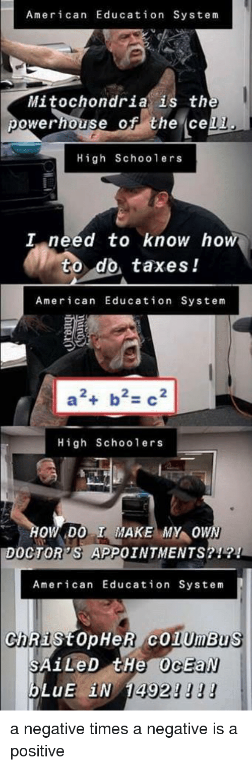 I Need To Know: American Education System  Mitochondria is th  owerhouse of the cell  High Schoolers  I need to know ho  to do taxes!  American Education System  a斗b2-C2  High Schoolers  HOWDO I MAKE MY OW  DOCTOR'S APPOINTMENTS?1?!  American Education System  ChRIStopHeR cOlUmBu  LUE IN  1149 a negative times a negative is a positive
