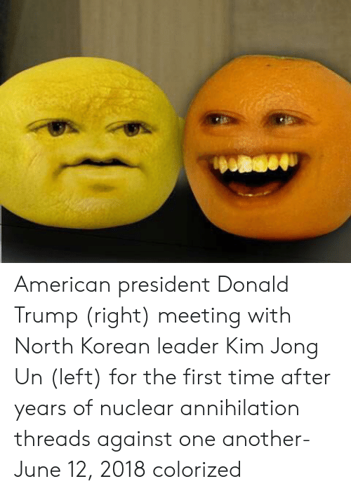 north korean: American president Donald Trump (right) meeting with North Korean leader Kim Jong Un (left) for the first time after years of nuclear annihilation threads against one another- June 12, 2018 colorized