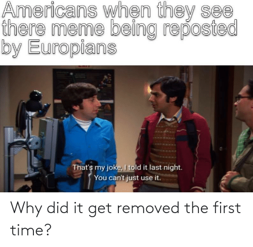 There Meme: Americans whẹn they see  there meme being reposted  by Europians  That's my joke, I told it last night.  You can't just use it. Why did it get removed the first time?