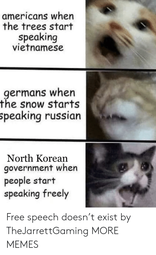 north korean: americans when  the trees start  speaking  vietnamese  germans when  the snow starts  peaking russian  North Korean  government when  people start  speaking freely Free speech doesn't exist by TheJarrettGaming MORE MEMES