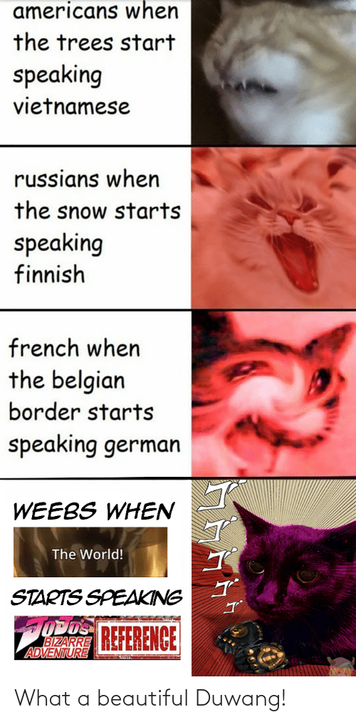 What A Beautiful Duwang: americans when  the trees start  speaking  vietnamese  russians when  the snow starts  speaking  finnish  french when  the belgian  border starts  speaking german  WEEBS WHEN  The World!  STARTS SPEAKING  OPOS REFERENCE  BIZARRE  ADVENTURE What a beautiful Duwang!
