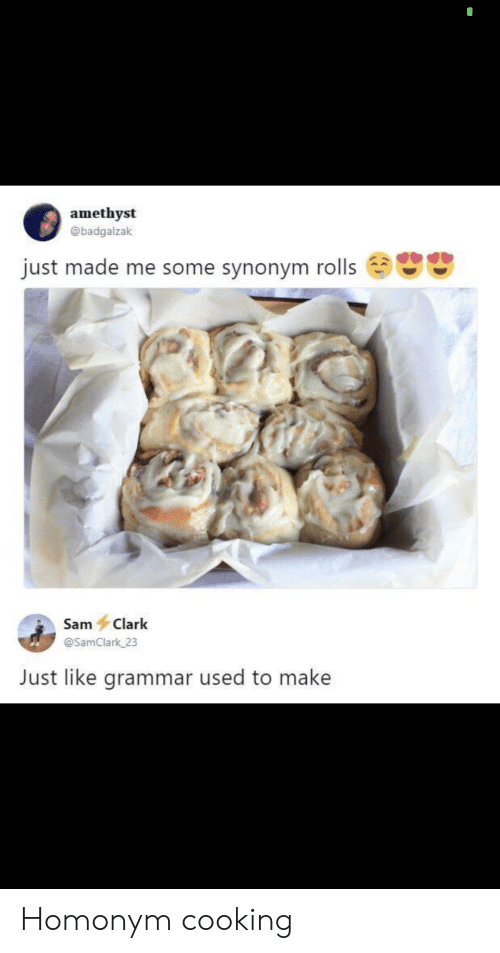 Amethyst, Sam, and Grammar: amethyst  @badgalzak  just made me some synonym rolls  Sam Clark  @SamClark 23  Just like grammar used to make Homonym cooking