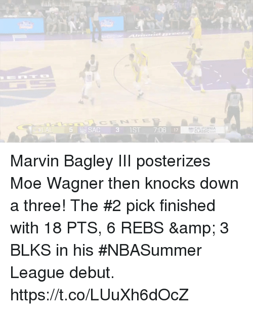 Memes, California, and Moe.: Amid E  CENTE  5  SAC 31ST 7:06 17  CALIFORNIA  CLASSIC Marvin Bagley III posterizes Moe Wagner then knocks down a three!   The #2 pick finished with 18 PTS, 6 REBS & 3 BLKS in his #NBASummer League debut.    https://t.co/LUuXh6dOcZ